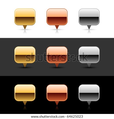 Luxory metal map pin sign web 2.0 buttons with shadow and reflection on white, gray, and black - stock vector