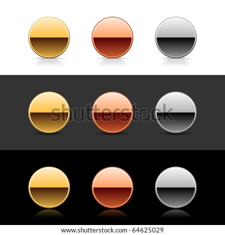 Luxory metal round web 2.0 buttons with shadow and reflection on white, gray, and black - stock vector