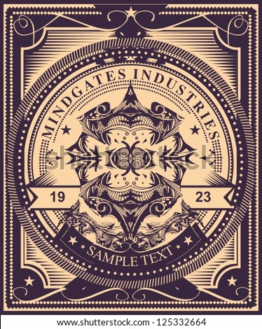 Luxurious and detailed  vintage label style  poster design. Highly detailed original vector artwork,  just add your own text to customize it for your own needs. Fully editable vector illustration. - stock vector