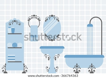 luxurious bathroom, bathroom doodles in vintage, boudoir style