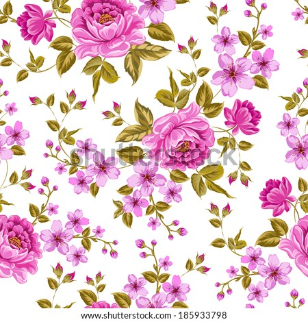 Luxurious color peony seamless pattern. Vector illistration. - stock vector