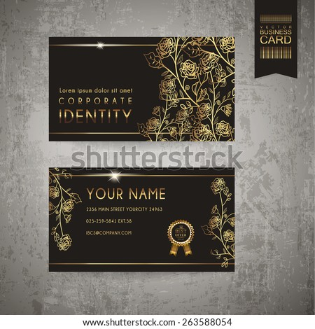 luxurious floral business card template design in golden and black - stock vector
