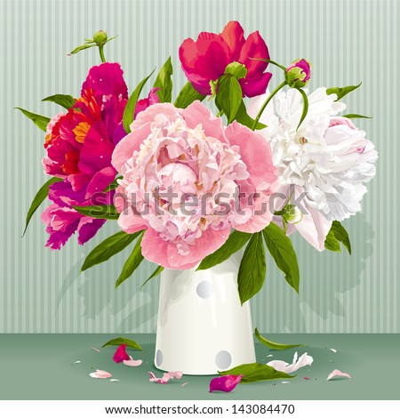 Luxurious pink, red and white peonies bouquet with leaves and buds in the porcelain vase - stock vector