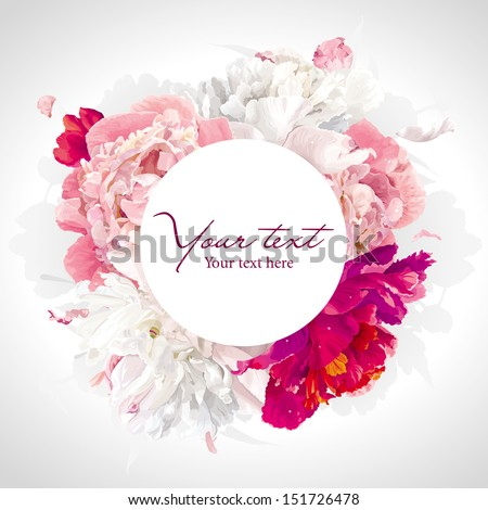 Luxurious pink, red and white peony background with a round label - stock vector