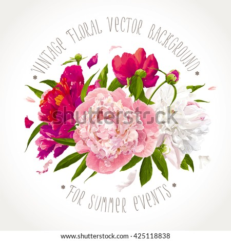 Luxurious pink, red and white peony flowers and leaves composition - stock vector