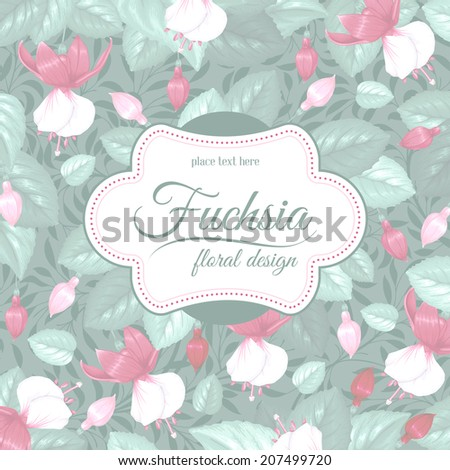 Luxurious retro style floral greeting card - fuchsia. Vector illustration.