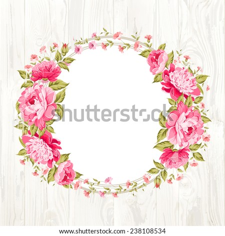 Luxurious vintage frame of color peony label. Vector illustration. - stock vector