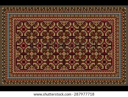 luxurious vintage oriental rug with original ornament in red and maroon hues - stock vector