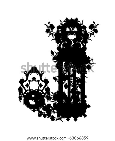 Luxuriously Illustrated Old Capital Letter J Stock Vector