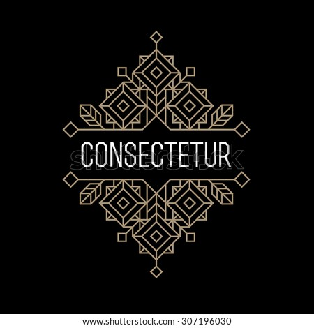 luxury antique art deco monochrome gold hipster minimal geometric vintage linear vector frame , border , label  for your logo, badge or crest for club, bar, cafe, restaurant, hotel, boutique - stock vector