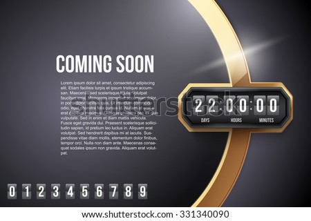 Luxury Background Coming Soon and countdown timer with digit samples. Vector Illustration isolated on white background. - stock vector