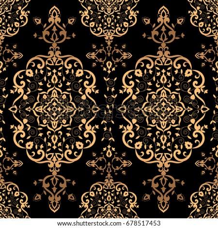 Luxury Background Design Pattern Vector Seamless Golden Vintage Art Deco Ornament Royal Indian Print