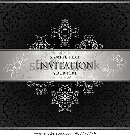 Luxury background with lace ornament. Floral elements. Vintage background in black. Luxury background with lace ornament. Floral elements. Vintage background in black. Vector illustration