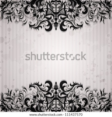 Luxury background with vintage frame and stripe paper for design - stock vector