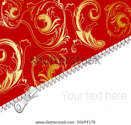 Luxury background with zipper,  vector illustration