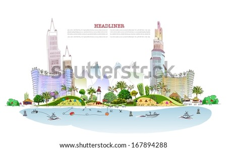 Luxury beach club hotel illustration City line collection - stock vector