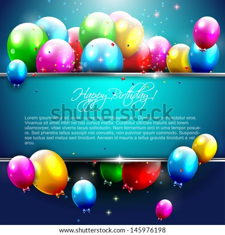 Luxury birthday background with colorful balloons and copyspace  - stock vector