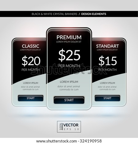 Luxury black & white crystal banners with buttons and bullets. Design elements. Can be used  on your website. EPS 10 - stock vector