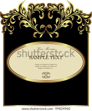 Luxury black with white gold-framed label