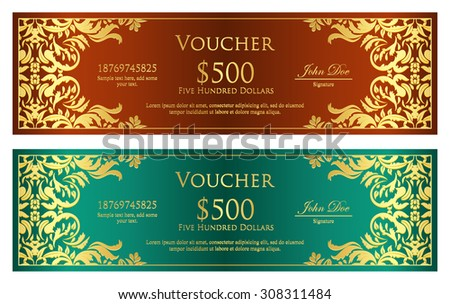 Luxury brown and green voucher with golden vintage ornament - stock vector