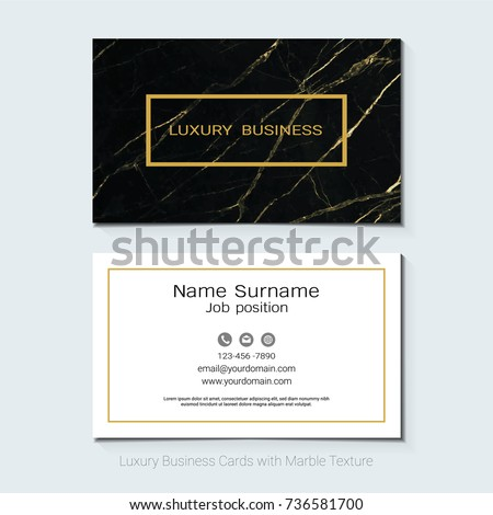 Luxury business cards vector template banner stock vector 736581700 luxury business cards vector template banner and cover with marble texture and golden foil details reheart Images