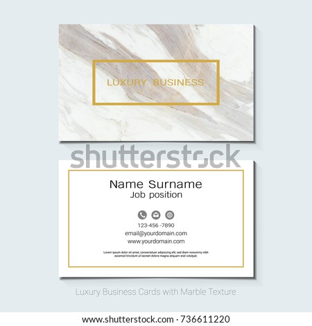Luxury business cards vector template banner stock vector 736611220 luxury business cards vector template banner and cover with marble texture and golden foil details reheart Images