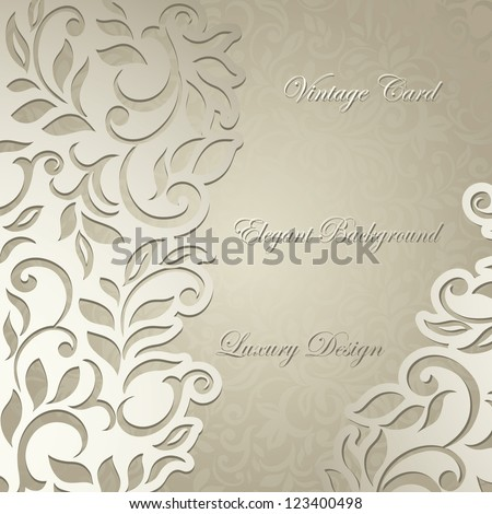 Luxury card, elegant floral curves design