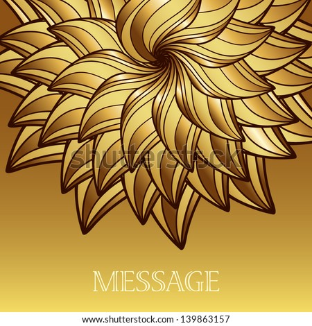Luxury card with gold flower. The idea for a wedding invitation