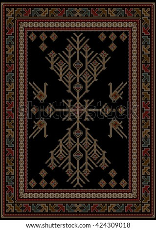 Luxury carpet with ethnic patterned tree and birds in the center on a black background - stock vector