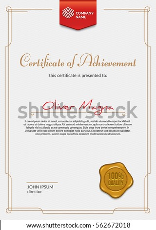 Luxury certificate design with ribbon badge and golden seal. Eps10 vector template.