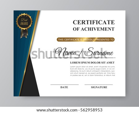 luxury certificate achivement golden award trendy stock vector