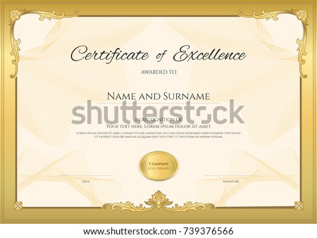Luxury certificate template elegant border frame stock photo photo luxury certificate template with elegant border frame diploma design for graduation or completion yadclub Choice Image