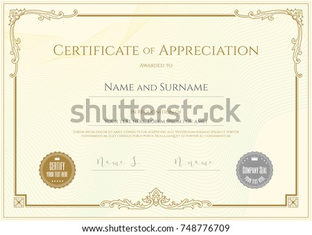 Luxury certificate template elegant border frame stock vector luxury certificate template with elegant border frame diploma design for graduation or completion yadclub Choice Image