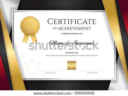 Luxury certificate template elegant red golden luxury certificate template with elegant golden border frame diploma design for graduation or completion yelopaper Image collections