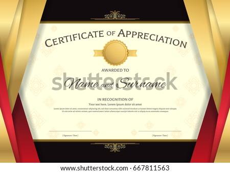 Luxury Certificate Template Elegant Red Golden Stock