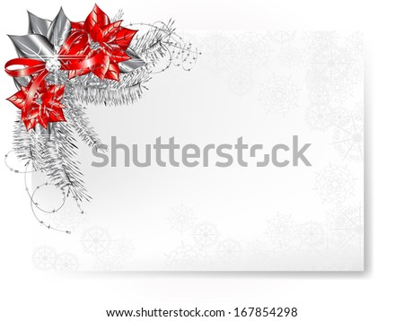Luxury Christmas background with poinsettia and silver needles