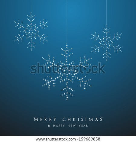 Luxury Christmas decorations ornaments hanging snowflakes postcard background. Vector file organized in layers for easy editing. - stock vector