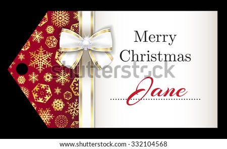 Luxury Christmas name tag with golden snowflakes and white ribbon - stock vector