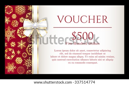 Luxury Christmas voucher with golden snowflakes and white ribbon - stock vector