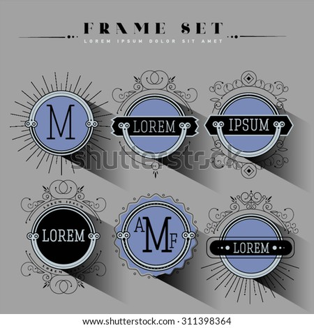 Luxury, classic, art deco, linear, minimal, hipster geometric, vintage, monogram, frame , border , label for your logo badge or crest. Business Identity for hotel or restaurant - stock vector