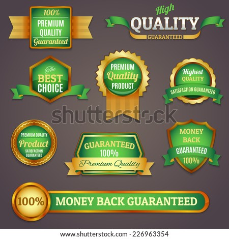 Luxury colored golden and green premium quality products best choice labels set isolated vector illustration - stock vector