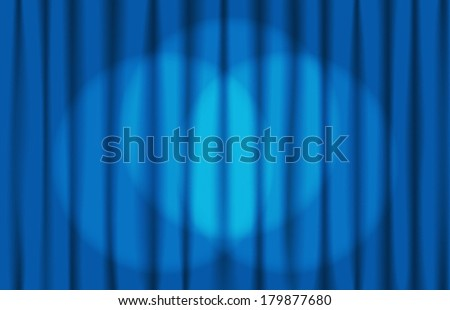 Luxury creases blue curtain with spotlight screen and many shadows (vector)