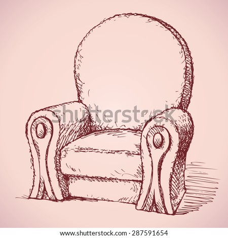 Luxury elite old-fashioned soft arm chair with high backrest and armrests decorated. Vector monochrome freehand ink drawn backdrop sketch in art antique scrawl style pen on paper with space for text - stock vector