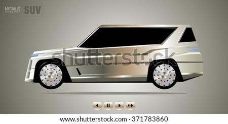 Luxury expensive SUV vehicle with a metal-plated coating on shiny metallic background. Unique individual design. Vector illustration