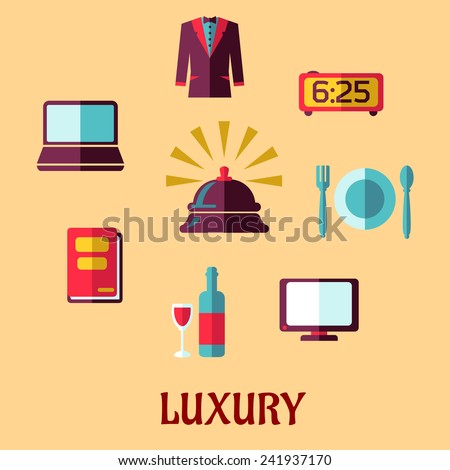 Luxury five stars hotel service with reception bell and high quality of room service icons isolated on beige background, flat style - stock vector