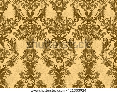 Luxury floral damask wallpaper. Seamless pattern background. Vector illustration, Golden brown tone ornate pattern on beige backdrop. - stock vector