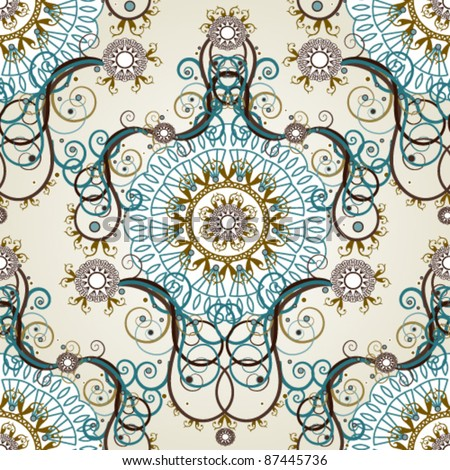 Luxury floral vintage wallpaper - stock vector