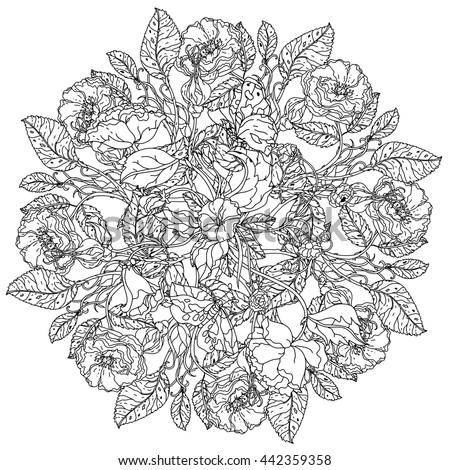 Roses Leaves Shape Mandala Old Masters Stock Vector