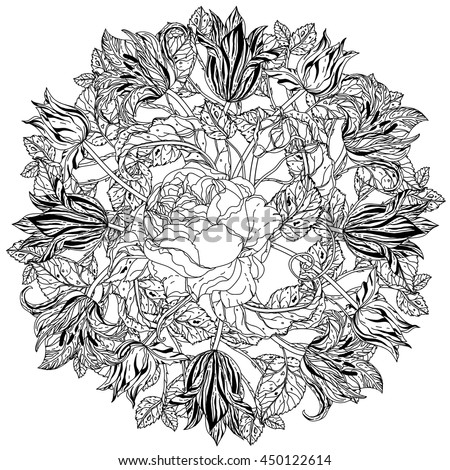 Zen Mandalas Coloring Book : Luxury flowers bouquet shape mandala adult stock vector 442460851