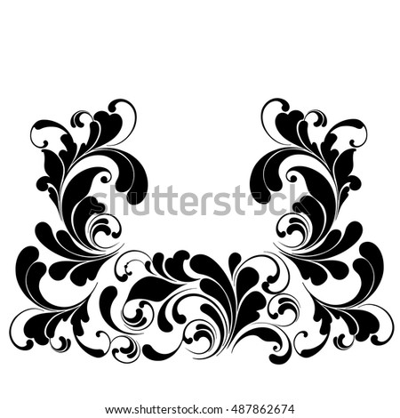 Luxury frame. Plant pattern border. Template.